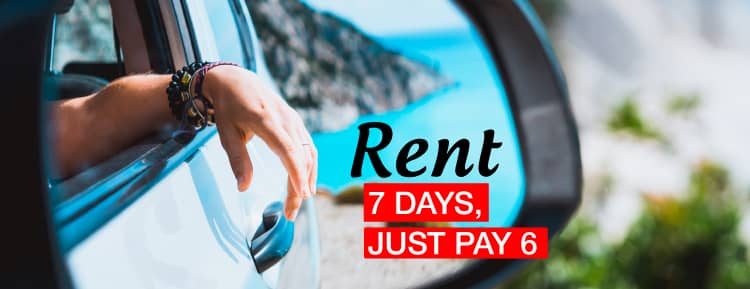 Rent for 7 days and only pay 6